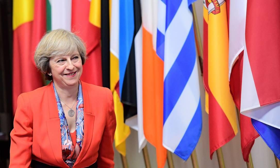 A primeira-ministra britânica, Theresa May no Conselho Europeu, em Bruxelas, 21 de outubro de 2016 Foto: EMMANUEL DUNAND / AFP