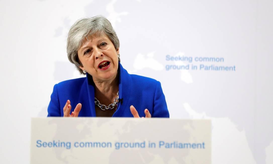 A primeira-ministra britânica Theresa May discursa no Brexit em Londres, Inglaterra, em maio de 2019 Foto: POOL / REUTERS