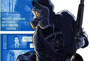 O Doutrinador: Criado em 2008 por Luciano Cunha, bombou nas redes com manifestações de 2013 e virou filme. Na origem, usava máscara para esconder a identidade — é um militar que atuou na ditadura Foto: Reprodução