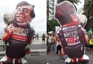 Boneco do presidente da Câmara, Rodrigo Maia (DEM), no ato em Copacabana Foto: Agência O Globo