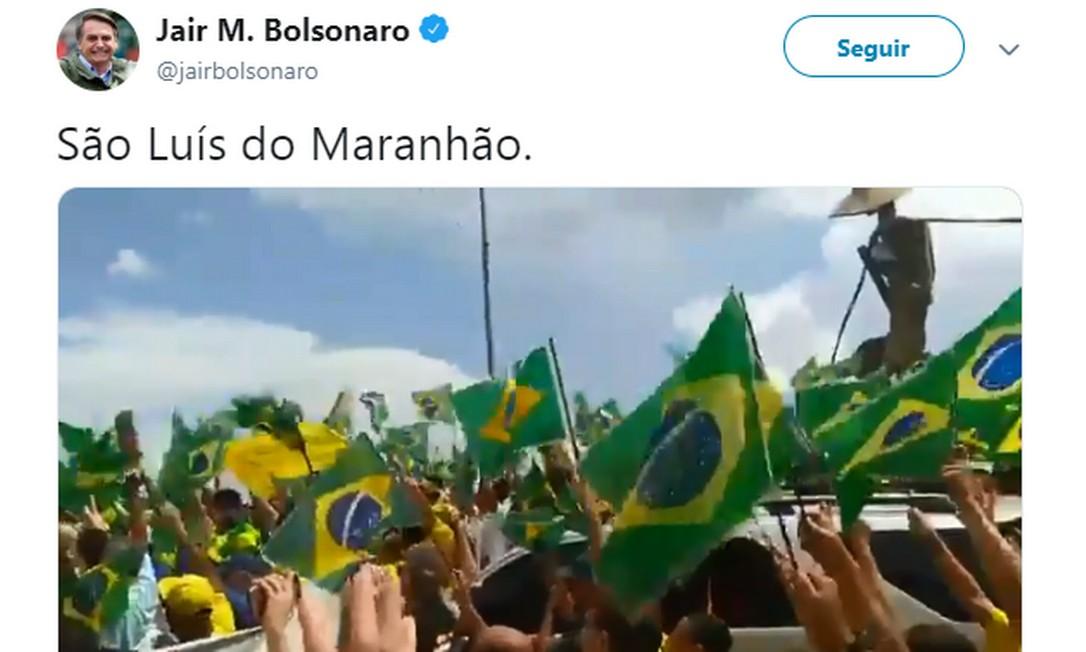 Post do presidente Bolsonaro em apoio aos atos pró-governo neste domingo Foto: Reprodução/Twitter