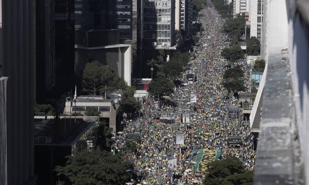 Vista área da manifestação em apoio ao governo de Jair Bolsonaro que acontece na Avenida Paulista, São Paulo Foto: Edilson Dantas / Agência O Globo