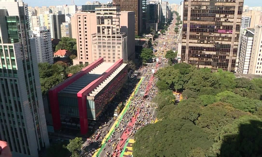 Avenida Paulista tem ato pró-governo Foto: Reprodução/GloboNews