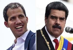 Combinação de fotos do líder opositor venezuelano Juan Guaidó (esquerda) e o presidente da Venezuela, Nicolás Maduro (direita): representantes de ambos se reúnem esta semana na Noruega em diálogo mediado pelo país nórdico para procurar uma saída para a crise Foto: STF/AFP