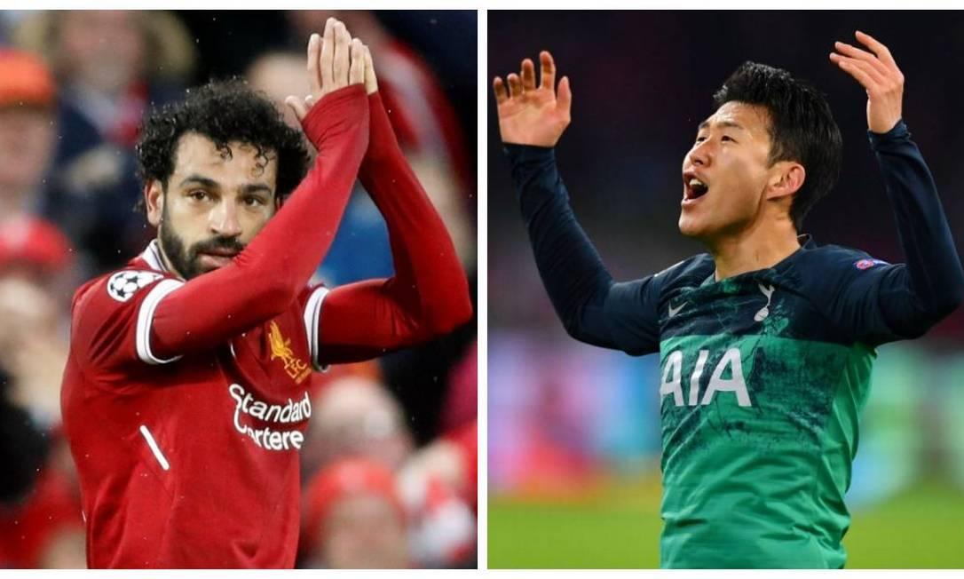 Salah e Son, destaques de Liverpool e Tottenham Foto: Montagem sobre fotos de Carl Recine e Dylan Martinez/Reuters