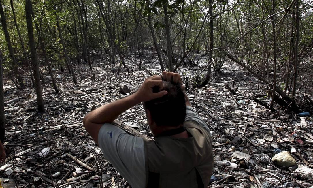 Lixo na Baia de Guanabara acumulado no manguezal no município de Caxias. O lixo proveniente dos rios da região chega pelo mar através das correntes marítimas e dos ventos Foto: Custódio Coimbra / Agência O Globo