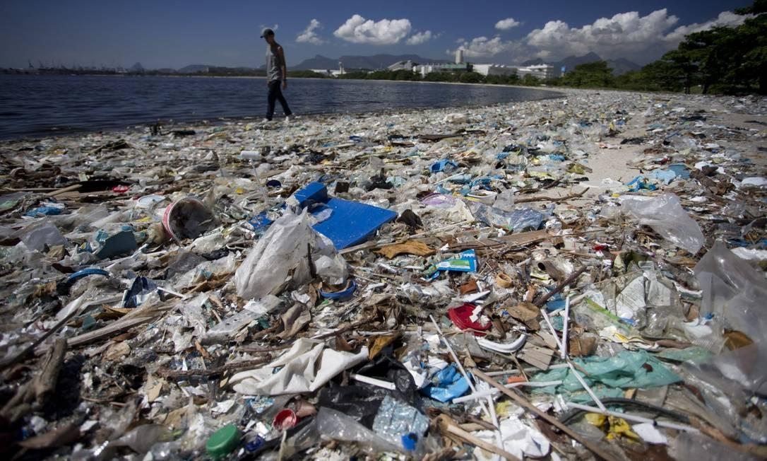 A praia localizada atrás da Escola de Educação Física da UFRJ, na Ilha do Fundão, está tomada pelo lixo Foto: Márcia Foletto / Agência O Globo