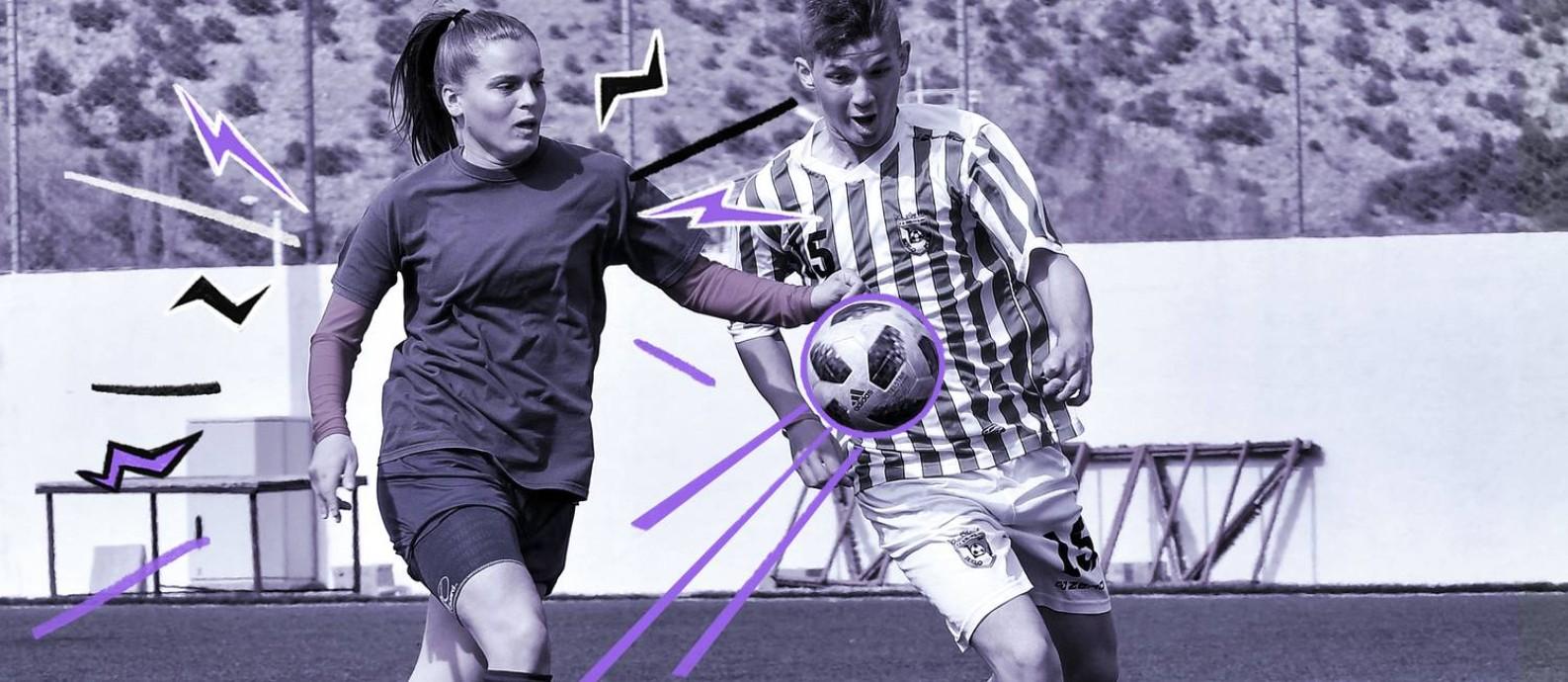 Atletas do time Emina, da Bósnia, durante partida Foto: Arte de Nina Millen sobre foto de Elvis Barukcic/AFP