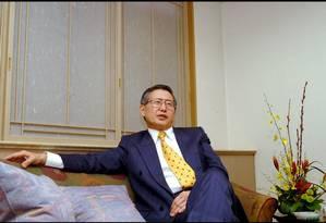 Alberto Fujimori em Tóquio. Foi nessa cidade em que o presidente peruano anúnciou que renunciaria a seu cargo, por fax Foto: Kurita KAKU / Gamma-Rapho via Getty Images