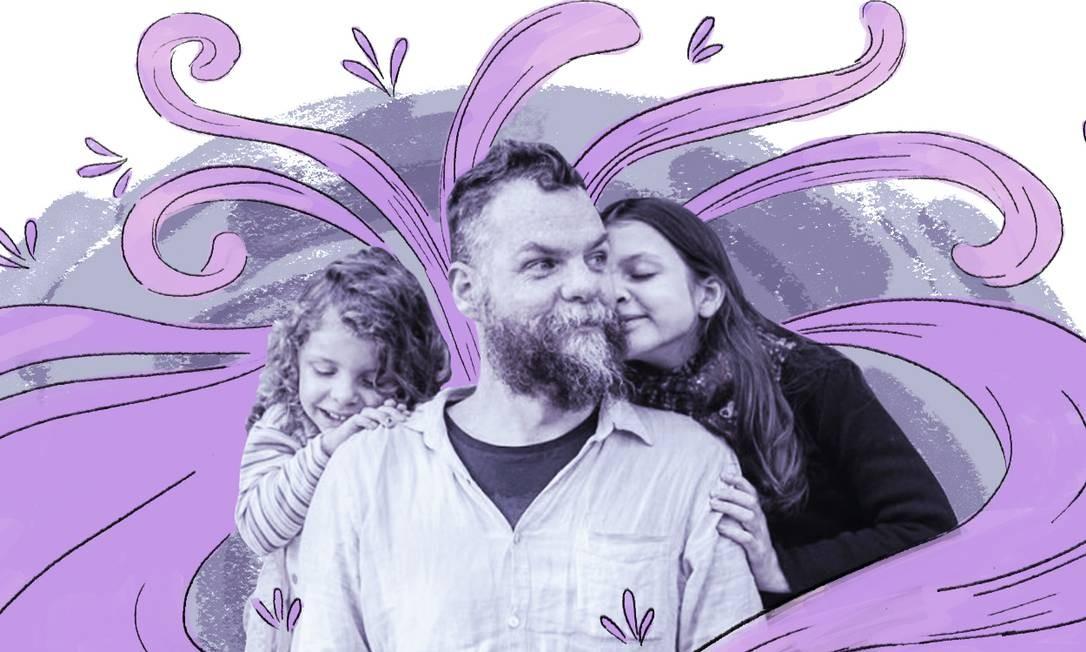 Marcos Piangers e suas duas filhas Foto: Arte de Nina Millen sobre foto de reprodução do Instagram