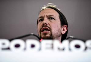 Líder do Podemos, Pablo Iglesias, durante entrevista coletiva em Madri após eleições europeias Foto: OSCAR DEL POZO / AFP