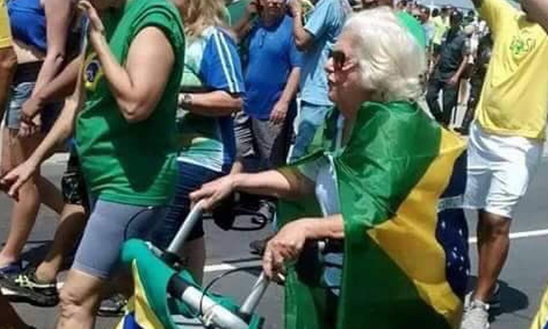 Maria Nina Rattes em manifestação pelo impeachment da presidente Dilma Rousseff em 2015 Foto: Reprodução/Facebook
