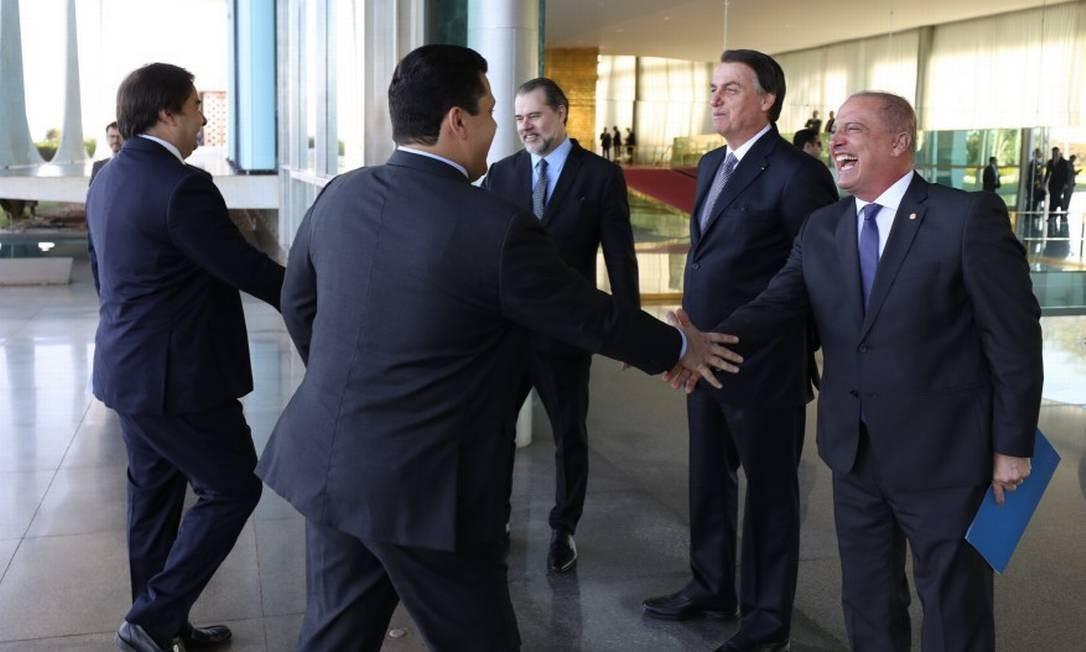O presidente Jair Bolsonaro recebeu os convidados para café da manhã no Palácio da Alvorada Foto: Marcos Côrrea / Presidência da Repúbica