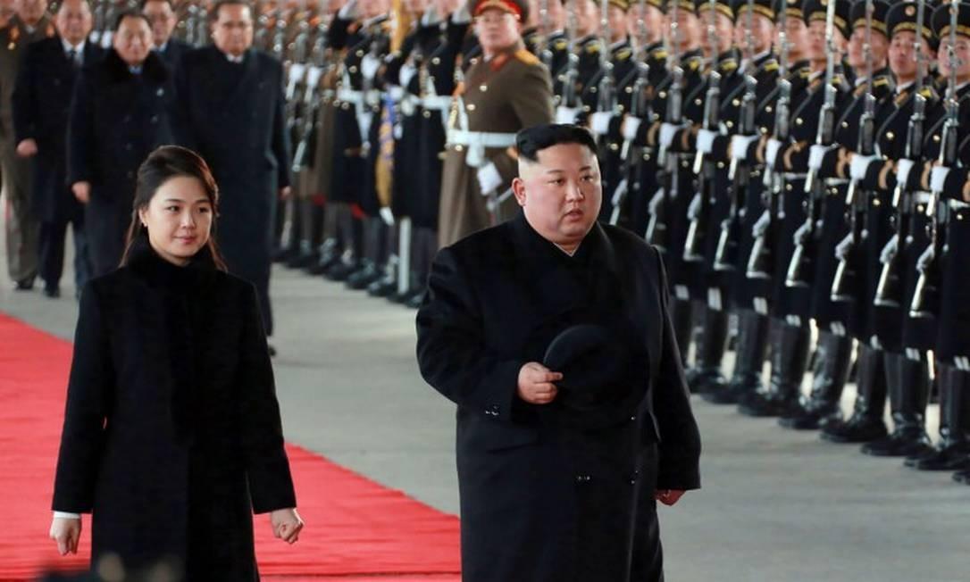 Kim Jong-un, ditador da Coreia do Norte, em foto oficial divulgada no dia 7 de janeiro Foto: KCNA VIA KNS / AFP