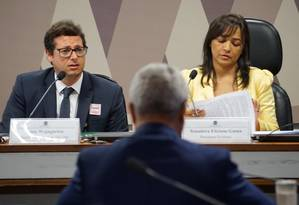 O secretário de Comunicação da Presidência, Fábio Wajngarten, durante audiência Foto: Reprodução/Twitter