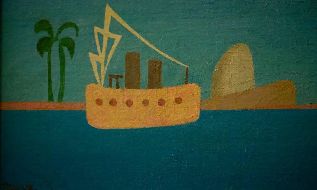 Óleo 'Marinha com Pão de Açúcar' (1945), de Tarsila do Amaral, na exposição 'Rio dos navegantes', no MAR Foto: Roberto Moreyra / Agência O Globo