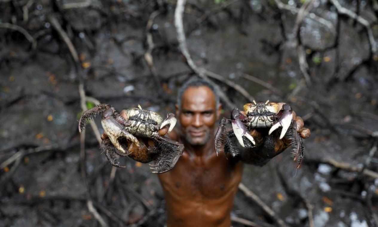 Pescador mostra caranguejos capturados por ele em manguezal na Bahia, no Brasil. Espécie vem se tornando cada vez mais escassa à medida que o aquecimento global vem causando o aumento da temperatura da água e, consequentemente, a morte de caranguejos e outros animais em sua cadeia alimentar Foto: NACHO DOCE / REUTERS