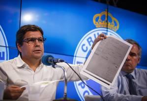 Itair Machado, vice de futebol do Cruzeiro, em entrevista coletiva na Toca da Raposa Foto: Vinnicius Silva/Cruzeiro/Divulgação