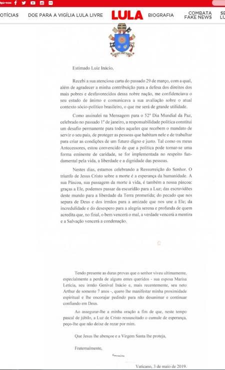 Papa Francisco enviou carta para ex-presidente Luiz Inácio Lula da Silva Foto: Reprodução