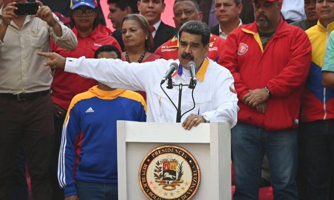 Nicolas Maduro participa de comício em Miraflores no dia 20 de maio Foto: MARVIN RECINOS / AFP