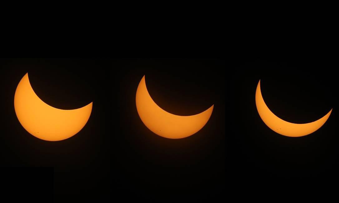 Múltipla exposição de eclipse solar ocorrido em Casper, Wyoming, Estados Unidos - 21/08/2017 Foto: JUSTIN SULLIVAN / AFP