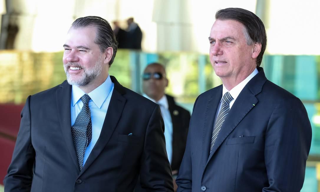 O presidente do STF, Dias Toffoli, e o presidente Jair Bolsonaro, durante café da manhã no Palácio da Alvorada Foto: Marcos Corrêa/Presidência/28-05-2019