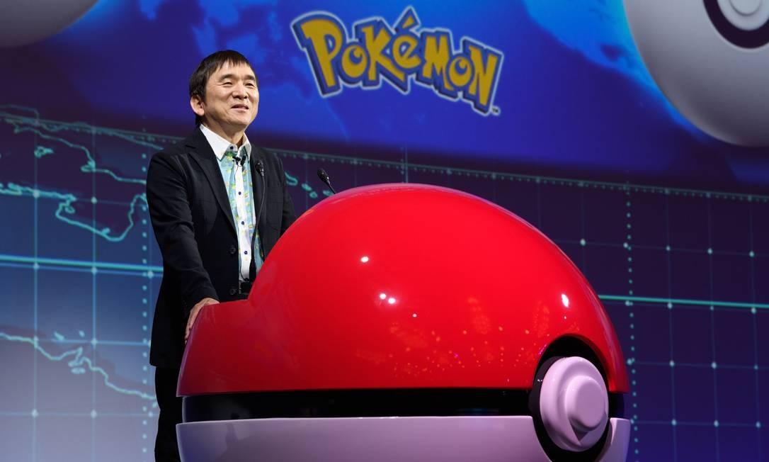 Tsunekazu Ishihara, presidente da Pokémon Company, no evento. Foto: Akio Kon / Bloomberg