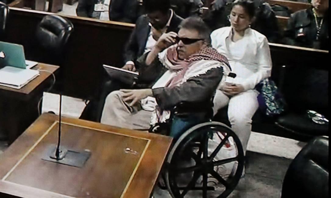 Líder das Farc, Jesús Santrich, durante audiência em complexo judicial de Bogotá Foto: HO / AFP