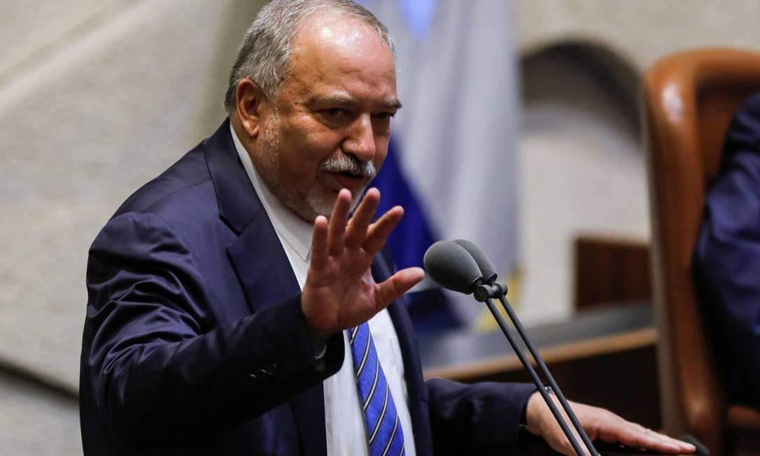 Líder do Yisrael Beiteinu, Avigdor Lieberman, no Knesset: governo não superou impasse Foto: MENAHEM KAHANA / AFP