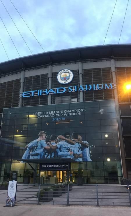 O Etihad Stadium, casa do Manchester City, campeão inglês de 2019, também oferece visita guiada Foto: Divulgação