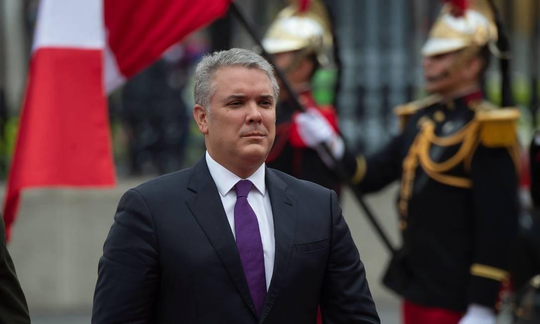 Iván Duque, presidente da Colômbia, em visita oficial à Lima, no Peru, no dia 27 de maio. Foto: CRIS BOURONCLE / AFP