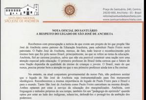 Trecho da nota oficial postada pelo Santuário Nacional São José de Anchieta no Facebook Foto: Reprodução
