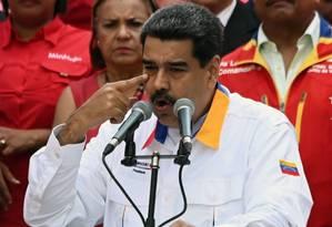 Nicolas Maduro participa de comício no palácio de Miraflores, em Caracas, no dia 20 de maio Foto: MARVIN RECINOS / AFP