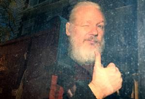 Julian Assange, no Tribunal de Magistrados de Westminster, em abril Foto: Hannah Mckay / REUTERS