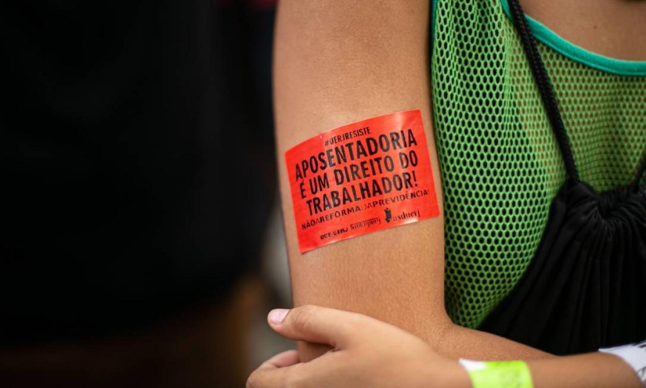 Reforma da Previdência também é pauta da manifestação Foto: Brenno Carvalho / Agência O Globo