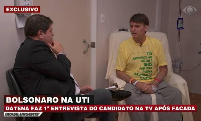 Bolsonaro conversou com Datena na UTI do Hospital Albert Einstein, em São Paulo, durante recuperação do atentado que sofreu durante a campanha Foto: Reprodução / Band