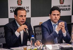 João Doria e Bruno Araújo se aproximaram a partir de 2017, quando Doria comandava a prefeitura de São Paulo e Araújo era ministro das Cidades Foto: Leon Rodrigues / Divulgação/PMSP (10/08/2017)