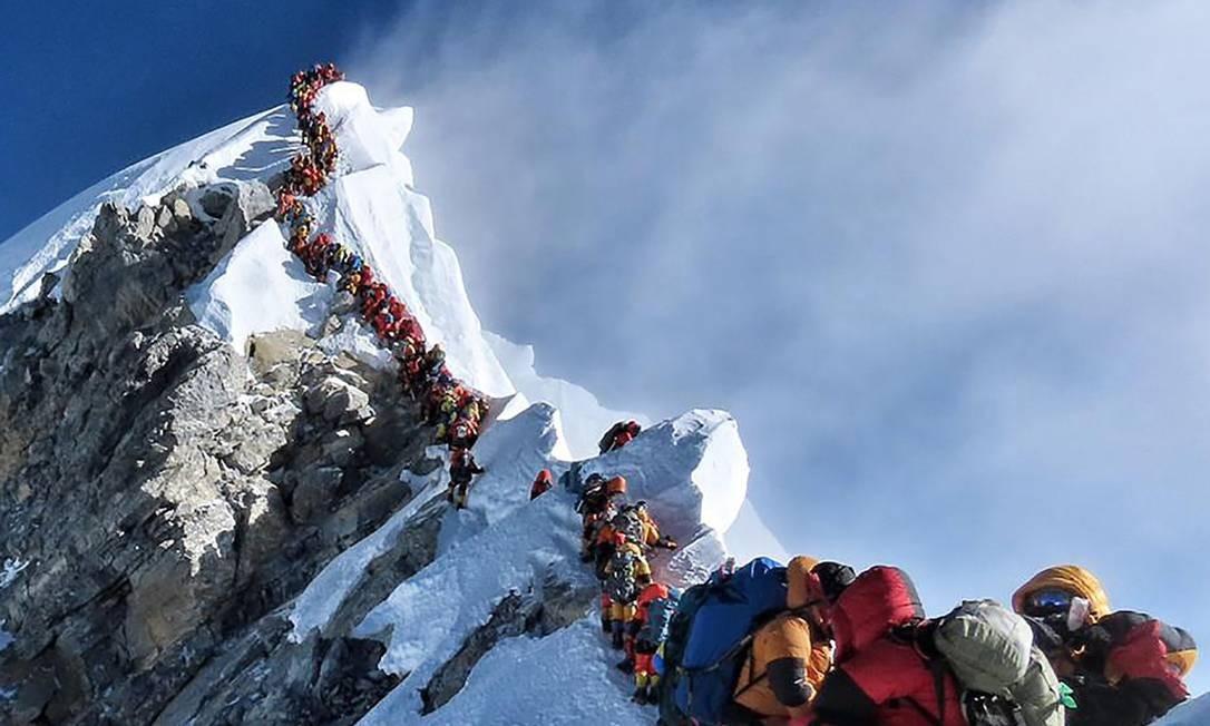 Foto tirada por Nirmal Purja, no dia 22 de maio, enquanto descia do monte Everest Foto: DIVULGAÇÃO/Project Possible / AFP