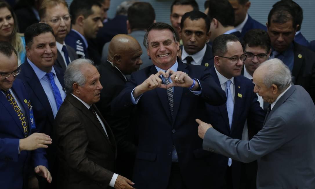 O presidente Jair Bolsonaro no encontro de missionários da Assembléia de Deus de Madureira, em Goiânia. Foto: Jorge William / Agência O Globo