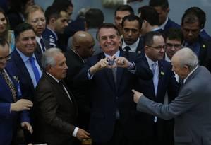 O presidente Jair Bolsonaro no encontro de missionários da Assembléia de Deus de Madureira, em Goiânia. Foto: Jorge William / O Globo