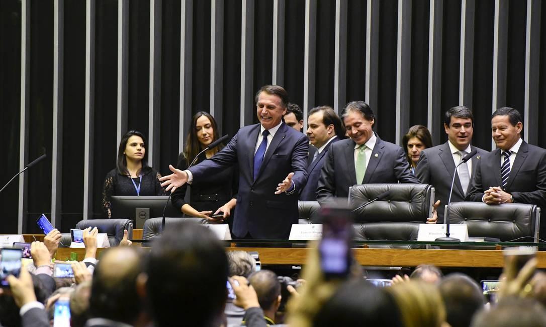 Bolsonaro no plenário da Câmara dos Deputados, em Brasília Foto: Marcos Oliveira / Agência O Globo