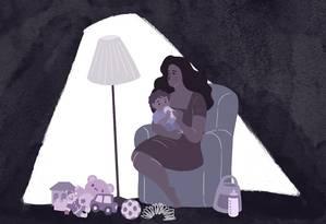 Mães têm a companhia dos seus pequenos, mas se sentem isoladas socialmente Foto: Arte de Nina Millen