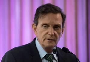 Prefeito Marcelo Crivella rebateu críticas do governador Wilson Witzel Foto: MAURO PIMENTEL / AFP