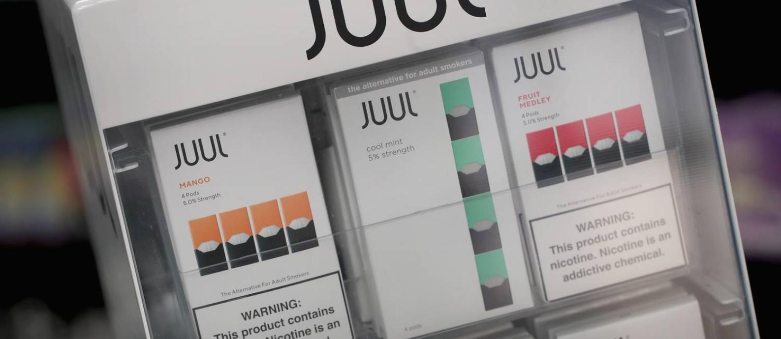 Cigarros eletrônicos da Juul à venda nos EUA Foto: Scott Olson / Getty Images