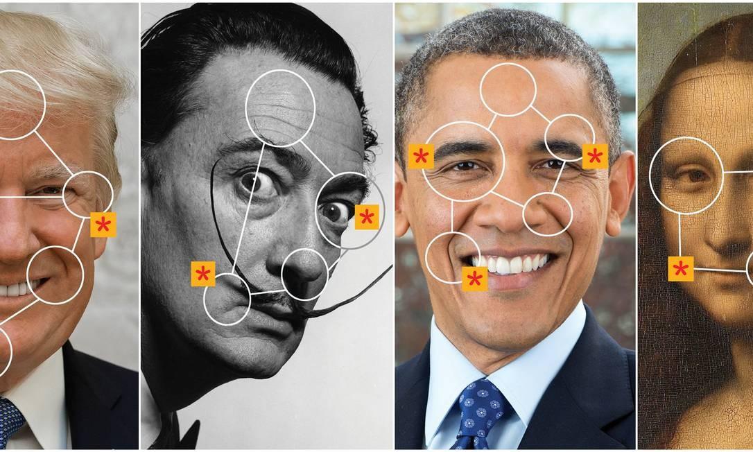 Trump, Dalí, Obama e Mona Lisa são algumas das figuras com voz e expressões manipuladas pela inteligência artificial Foto: André Mello / Arte
