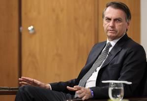 O presidente Jair Bolsonaro durante entrevista no Palácio do Planalto Foto: Marcos Correa/Presidência da República