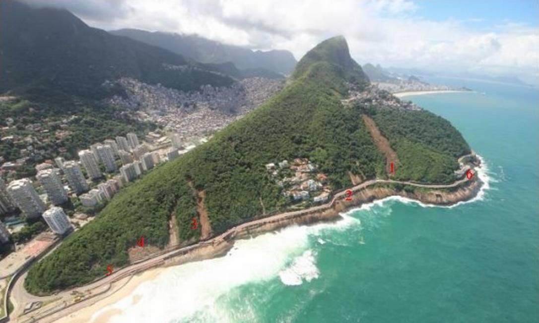 Risco: laudo da Justiça aponta risco de deslizamentos na Avenida Niemeyer mesmo em dias não chuvosos Foto: Mário Moscatelli / Divulgação
