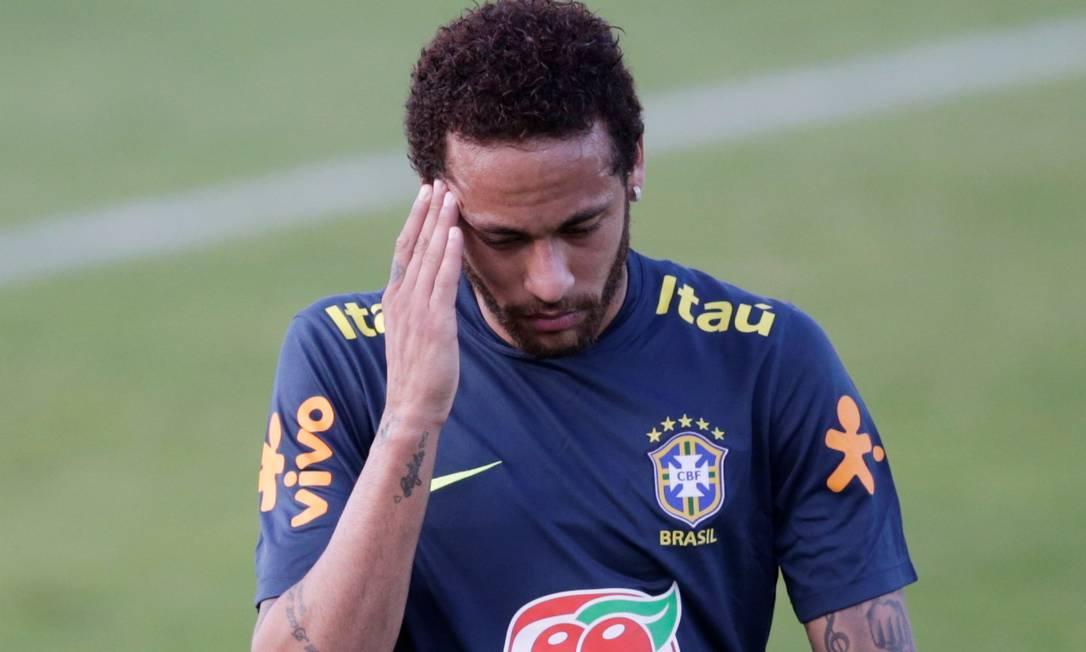 Neymar, durante treino na Granja Comary Foto: RICARDO MORAES / REUTERS