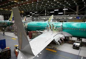 Um avião 737 Max sendo produzido na fábrica da Boeing em Renton, no estado de Washington, nos EUA Foto: Lindsey Wasson / Lindsey Wasson/Reuters/27-3-2019