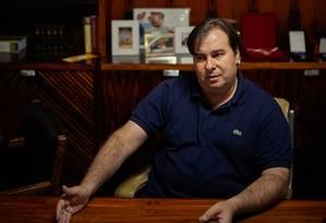 O presidente da Câmara, Rodrigo Maia, durante entrevista exclusiva para O GLOBO: 'Agenda para o Brasil ainda não vi ser formatada por esse governo' Foto: Daniel Marenco / Agência O Globo